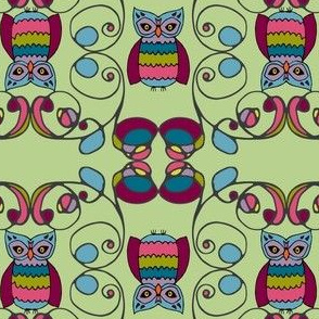 tendril owls in gemtone