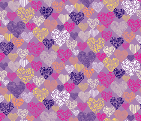 Eclectic Patterned Hearts on Purple Background fabric by ladykerry on Spoonflower - custom fabric