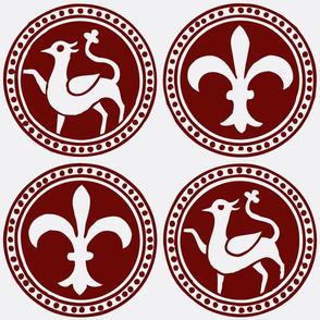 Fleur-de-Lis Heraldry Red on White