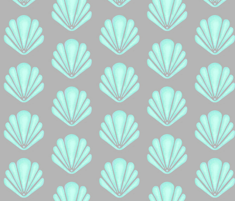 Clamshells - teal fabric by sugarpinedesign on Spoonflower - custom fabric