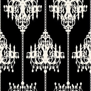 Chandelier Damask on Black