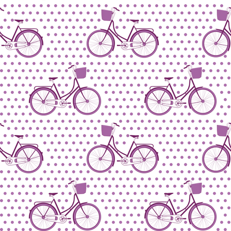 Orchid Bicycle Polka fabric by mrshervi on Spoonflower - custom fabric