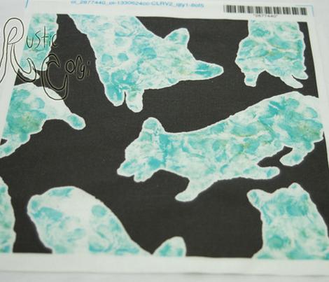 Pawprint painted Pems - aqua on black