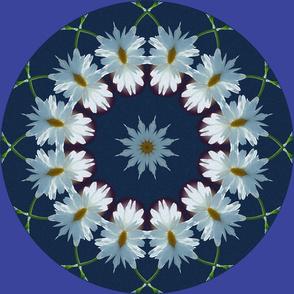Blue Daisy Kaleidoscope Fractal Mandala Chakra 1