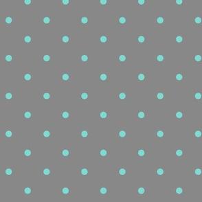 Little dots Aqua on Gray