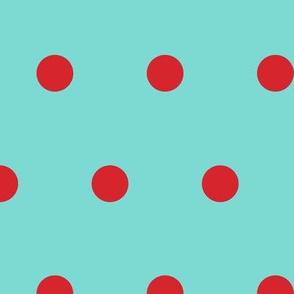 Polka Dot - Red on Aqua