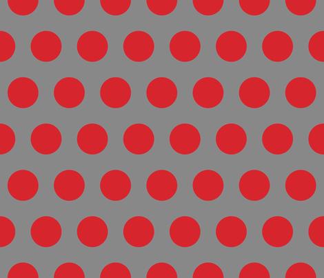 Polka Dot - Red on Gray XL fabric by juliesfabrics on Spoonflower - custom fabric