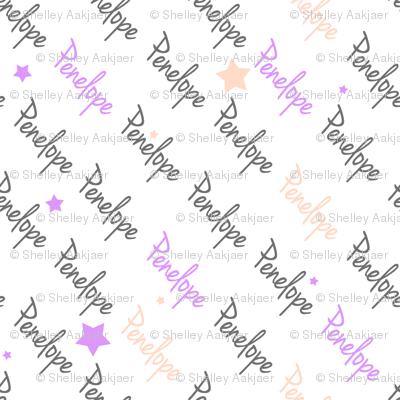 Personalised Name Fabrics - Diagonal Stars in Grey Violet Blush