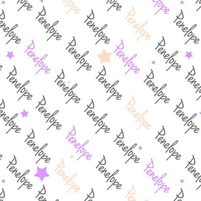 Personalised Name Fabrics - Diagonal Stars in Grey Violet Blush