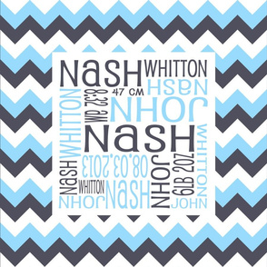 Personalised Birth Cushion Panel - Aniseed, Blue and White Chevron