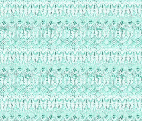 Feathers in Mint fabric by thistleandfox on Spoonflower - custom fabric