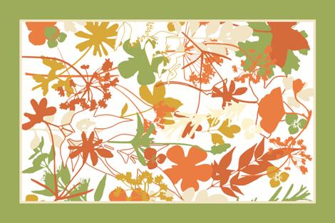 Orange Garden Tea Towel fabric by mypetalpress on Spoonflower - custom fabric