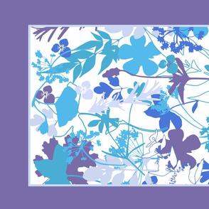 Purple Garden tea towel