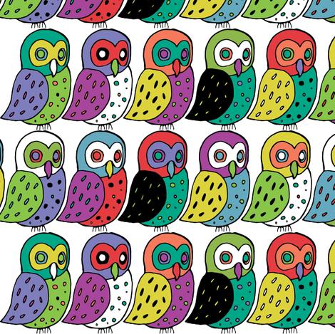 elf owls in rainbow fabric by ecologies on Spoonflower - custom fabric