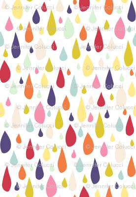 April Showers: Rainbow Rain Drops on White