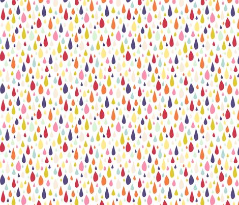 April Showers: Rainbow Rain Drops on White fabric by jennifercolucci on Spoonflower - custom fabric