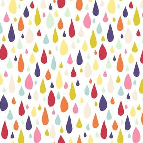 April Showers: Rainbow Rain Drops on White