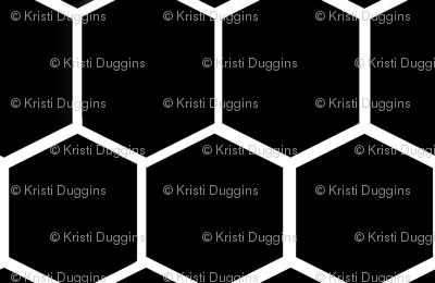Black and White Hexagon, Honeycomb, Beehive