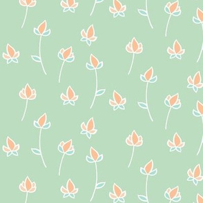 Blossom Buds in Soft Green and Peach