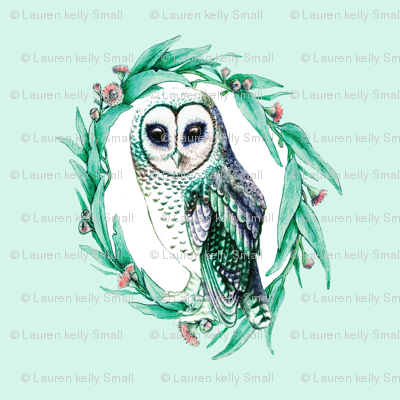Sooty Owl Wreath in Mint and Pink