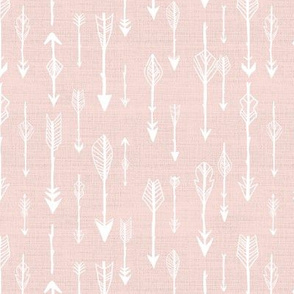 Lots of Arrows in White on Rustic Rose Pink