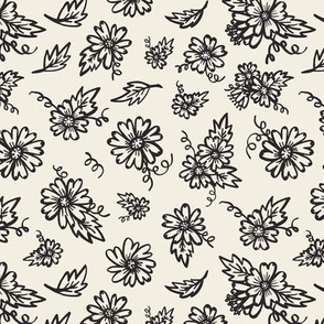 Flower Doodles - Black & Cream