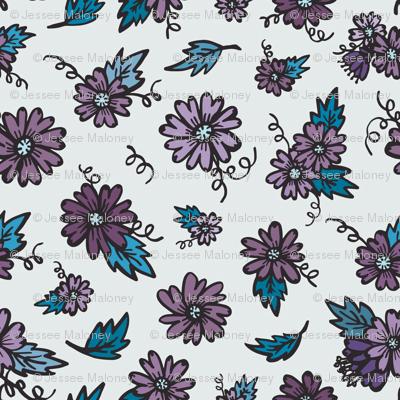 Flower Doodles - Teal & Purple