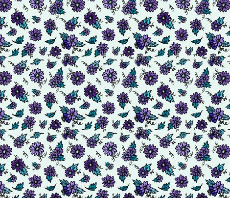 Flower Doodles - Teal & Purple fabric by jesseesuem on Spoonflower - custom fabric