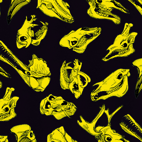 rskullpaternhotyellow fabric by craftyscientists on Spoonflower - custom fabric