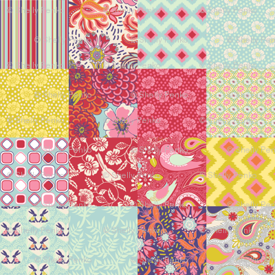 Spring Cheater Quilt Patchwork Squares