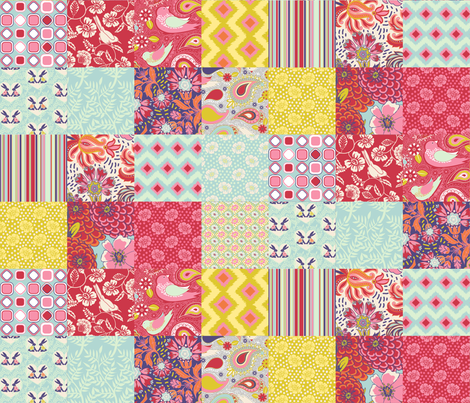 Spring Cheater Quilt Patchwork Squares fabric by shellypenko on Spoonflower - custom fabric