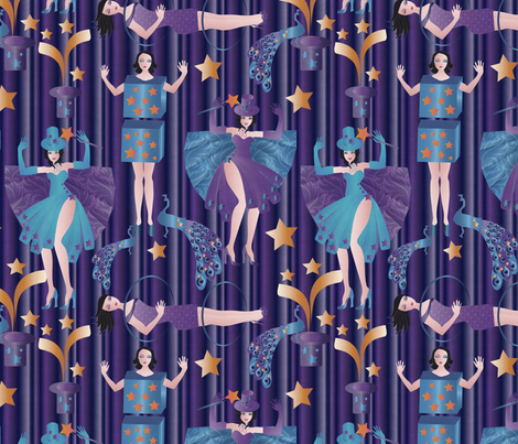magic in blue fabric by kociara on Spoonflower - custom fabric