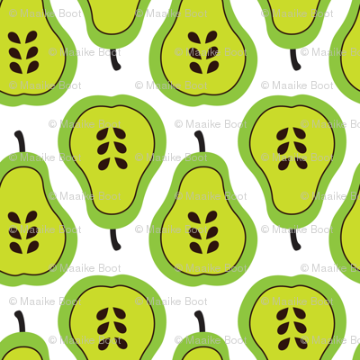 Fantastic freshtastic green retro pear pattern