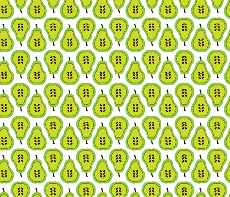 Fantastic freshtastic green retro pear pattern fabric by littlesmilemakers on Spoonflower - custom fabric