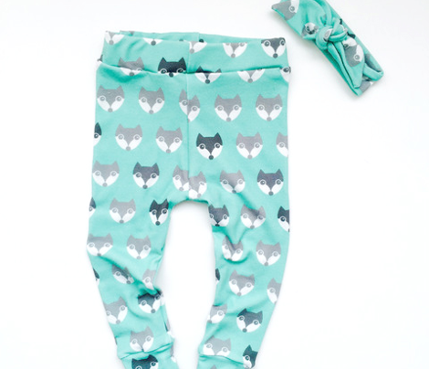 Baby blue vintage retro nursery fox