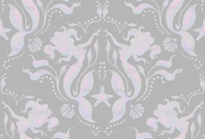 Mermaid Damask - pearl