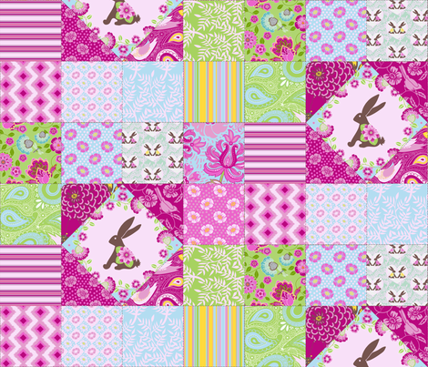 Bunny and Blooms Cheater Quilt in Girly Colors :) fabric by shellypenko on Spoonflower - custom fabric