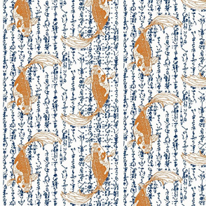 orange koi on navy