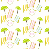 Beach Chairs & Umbrellas-Pastels-Personalized