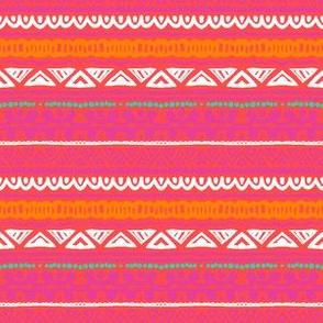Ornamental stripes in coral red
