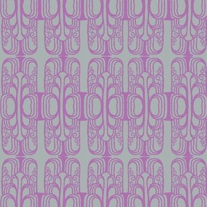 Deco Arches Orchid on Grey