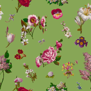 Seamless Victorian Flowers Green