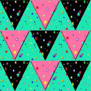 Star Triangle Pennant Bunting Green Pink Black