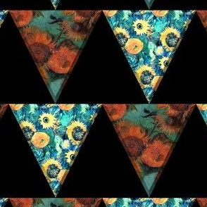 Van Gogh Sunflowers and Starry Night Triangle Pennant Bunting