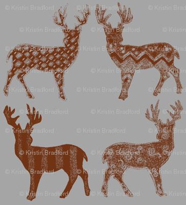 Brown Meadow Deer on Gray