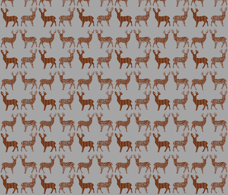 Brown Meadow Deer on Gray fabric by kbexquisites on Spoonflower - custom fabric