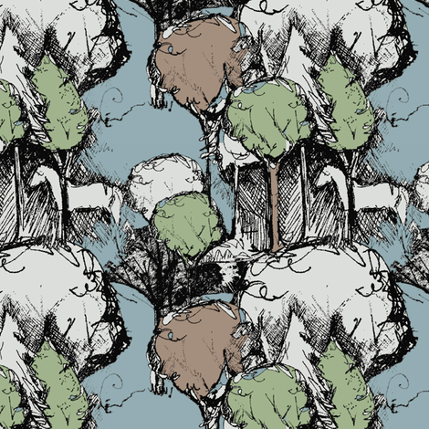 White Horse in the Forest fabric by witchmountain on Spoonflower - custom fabric
