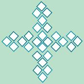 Diamond Cross mint and teal