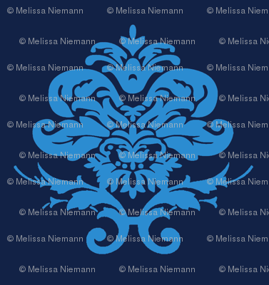 Blue and Navy Damask