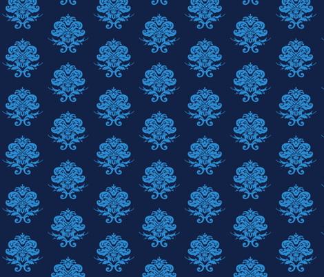 Blue and Navy Damask  fabric by magneticcatholic on Spoonflower - custom fabric